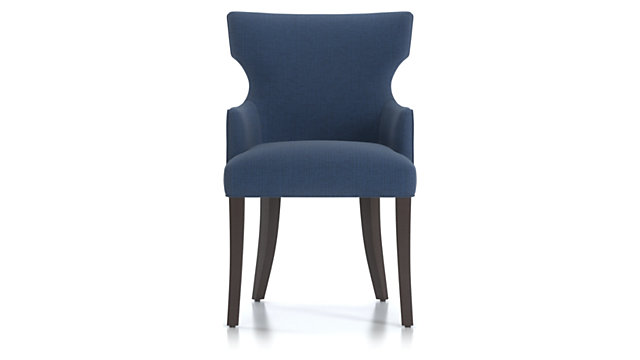 Sasha Upholstered Dining Arm Chair shown in Groove, Ink
