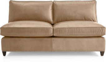Dryden Leather Armless Loveseat with Nailheads shown in Libby, Mushroom
