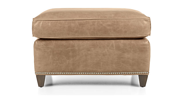 Dryden Leather Ottoman With Nailheads Reviews Crate