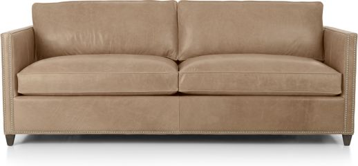 Dryden Leather Queen Sleeper Sofa with Nailheads shown in Libby, Mushroom