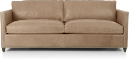 Dryden Leather Queen Sleeper Sofa with Nailheads and Air Mattress shown in Libby, Mushroom