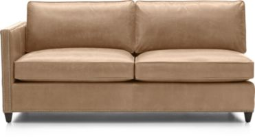 Dryden Leather Left Arm Apartment Sofa with Nailheads shown in Libby, Mushroom