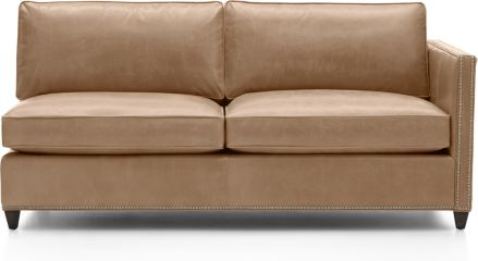 Dryden Leather Right Arm Apartment Sofa with Nailheads shown in Libby, Mushroom
