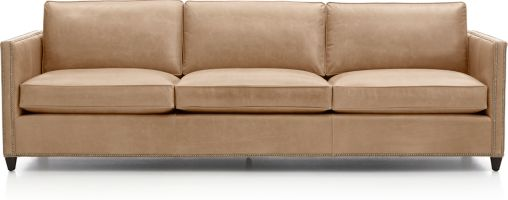 """Dryden Leather 3-Seat 103"""" Grande Sofa with Nailheads shown in Libby, Mushroom"""