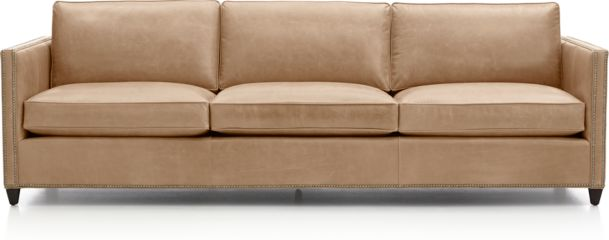 "Dryden Leather 3-Seat 103"" Grande Sofa with Nailheads shown in Libby, Mushroom"