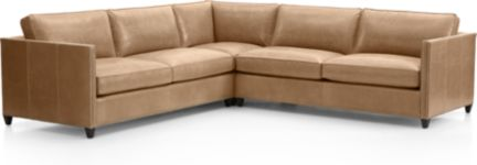Dryden Leather 3-Piece Sectional with Nailheads(Left Arm Apartment Sofa, Corner, Right Arm Apartment Sofa) shown in Libby, Mushroom
