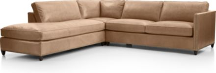 Dryden Leather 3-Piece Left Bumper Sectional with Nailheads(Left Bumper, Corner, Right Arm Apartment Sofa) shown in Libby, Mushroom