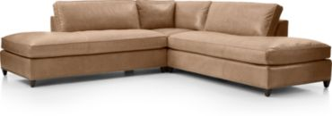 Dryden Leather 3-Piece Two Bumper Sectional with Nailheads(Left Bumper, Corner, Right Bumper) shown in Libby, Mushroom