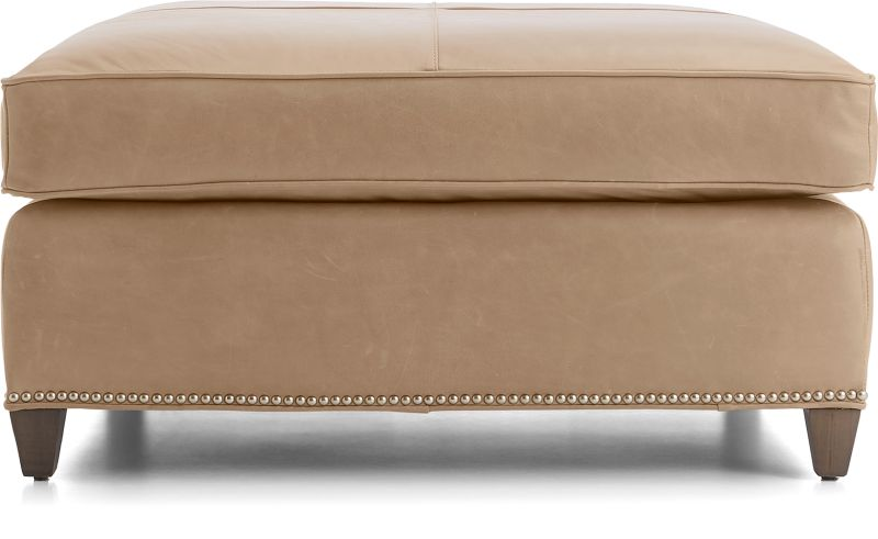 Dryden Leather Square Cocktail Ottoman With Nailheads