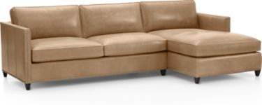 Dryden Leather 2-Piece Sectional with Nailheads(Left Arm Apartment Sofa, Right Arm Chaise) shown in Libby, Mushroom