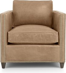 Dryden Leather Chair with Nailheads shown in Libby, Mushroom