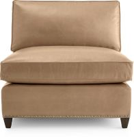 Dryden Leather Armless Chair with Nailheads shown in Libby, Mushroom