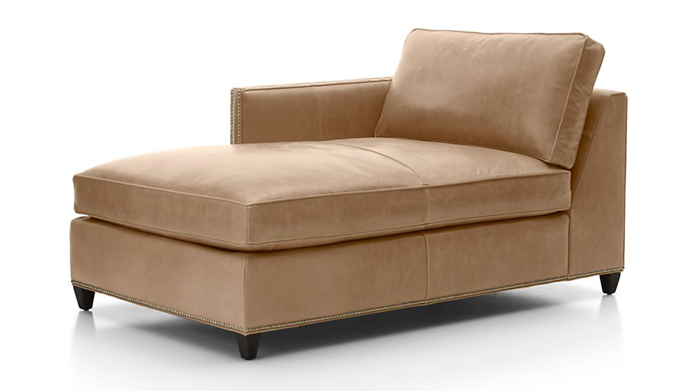 ... Dryden Leather Left Arm Chaise Lounge with Nailheads ...  sc 1 st  Crate and Barrel : left arm chaise lounge - Sectionals, Sofas & Couches