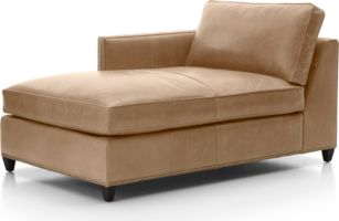 Dryden Leather Left Arm Chaise Lounge with Nailheads shown in Libby, Mushroom