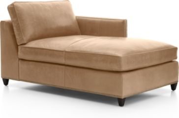 Dryden Leather Right Arm Chaise Lounge with Nailheads shown in Libby, Mushroom