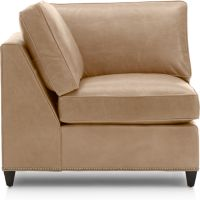 Dryden Leather Corner Chair with Nailheads shown in Libby, Mushroom