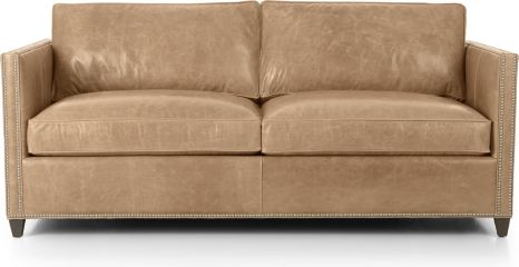 Dryden Leather Full Sleeper Sofa with Nailheads shown in Libby, Mushroom