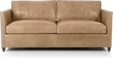 Dryden Leather Full Sleeper with Nailheads and Air Mattress shown in Libby, Mushroom