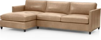Dryden 2-Piece Leather Sectional with Nailheads(Left Arm Chaise, Right Arm Apartment Sofa) shown in Libby, Mushroom