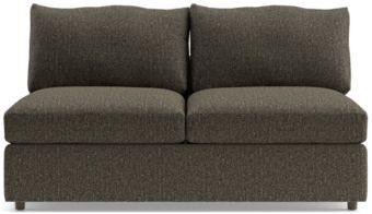 Lounge II Petite Armless Loveseat shown in Taft, Truffle