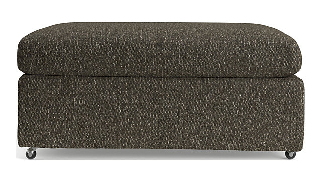 """Lounge II Petite 37"""" Ottoman with Casters shown in Taft, Truffle"""