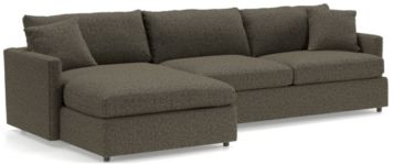 Lounge II Petite 2-Piece Sectional Sofa (Left Arm Chaise, Right Arm Sofa) shown in Taft, Truffle