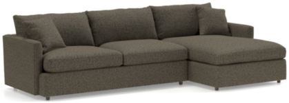 Lounge II Petite 2-Piece Sectional Sofa (Left Arm Sofa, Right Arm Chaise) shown in Taft, Truffle