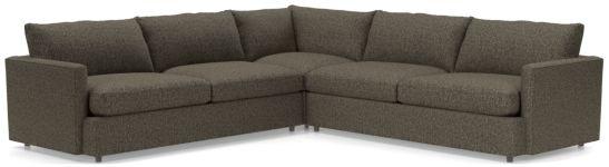 Lounge II Petite 3-Piece Sectional Sofa (Left Arm Sofa, Corner, Right Arm Sofa) shown in Taft, Truffle