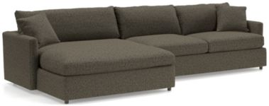 Lounge II Petite 2-Piece Left Arm Double Chaise Sectional Sofa (Left Arm Double Chaise, Right Arm Sofa) shown in Taft, Truffle
