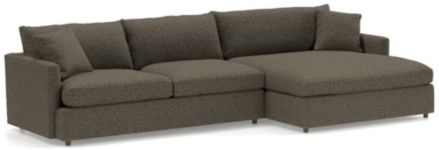 Lounge II Petite 2-Piece Right Arm Double Chaise Sectional Sofa (Left Arm Sofa, Right Arm Double Chaise) shown in Taft, Truffle