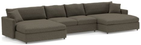 Lounge II Petite 3-Piece Double Chaise Sectional Sofa (Left Arm Double Chaise, Armless Loveseat, Right Arm Double Chaise) shown in Taft, Truffle