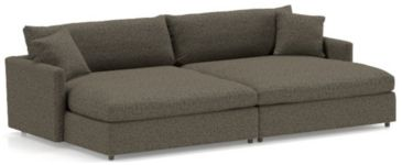 Lounge II Petite 2-Piece Double Chaise Sectional Sofa (Left Arm Double Chaise, Right Arm Double Chaise) shown in Taft, Truffle