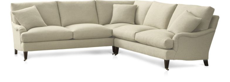 Essex 2-Piece Sectional Sofa with Casters (Left Arm Corner Sofa with Casters, Right Arm Sofa with Casters) shown in Ruffin, Natural