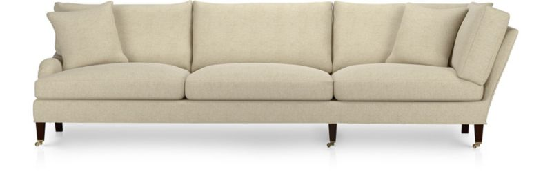 Essex Left Arm Corner Sofa with Casters shown in Ruffin, Natural