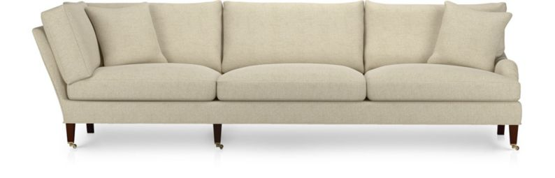 Essex Right Arm Corner Sofa with Casters shown in Ruffin, Natural