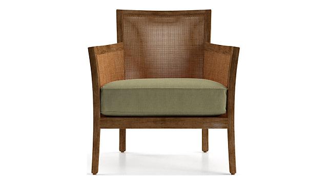 Blake Grey Wash Rattan Chair with Fabric Cushion shown in Kingston, Sand