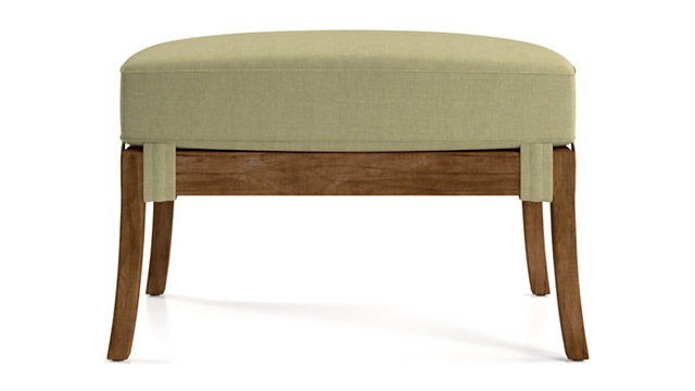 Blake Grey Wash Rattan Ottoman with Fabric Cushion shown in Kingston, Sand