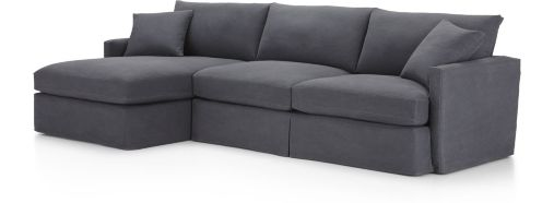 Lounge II Petite Slipcovered 2-Piece Sectional (Left Arm Chaise, Right Arm Sofa) shown in Denim, Twilight
