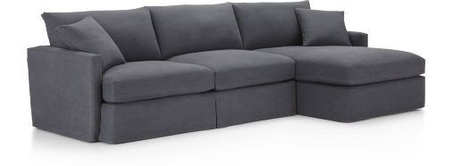 Lounge II Petite Slipcovered 2-Piece Sectional (Right Arm Chaise, Left Arm Sofa) shown in Denim, Twilight