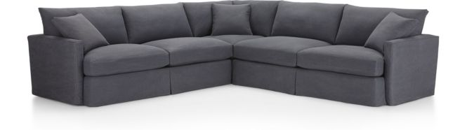 Lounge II Petite Slipcovered 3-Piece Sectional (Left Arm Sofa, Corner, Right Arm Sofa) shown in Denim, Twilight