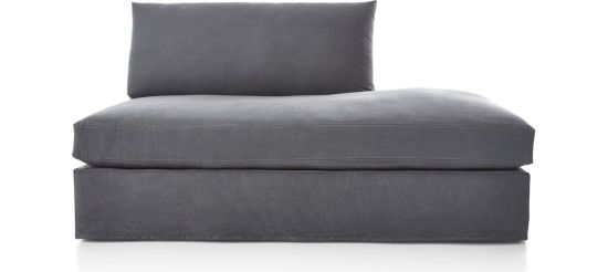 Lounge II Petite Slipcovered Right Bumper shown in Denim, Twilight