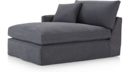 Lounge II Petite Slipcovered Left Arm Chaise shown in Denim, Twilight