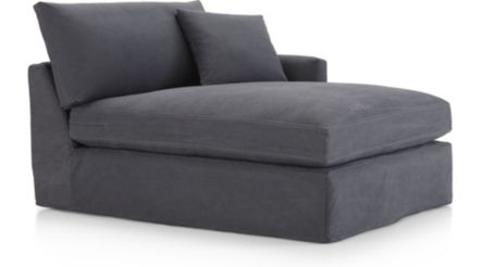 Lounge II Petite Slipcovered Right Arm Chaise shown in Denim, Twilight