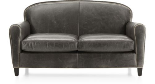 Eiffel Leather Loveseat shown in Citation, Dark Grey