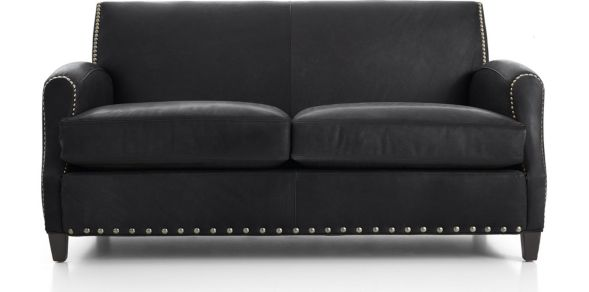 Metropole Leather Loveseat shown in Alfa, Midnight