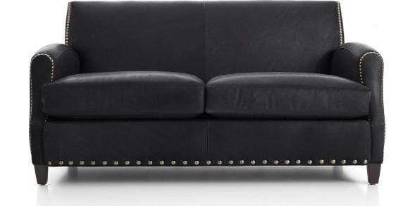 Metropole Leather Loveseat shown in Alfa, Midnight