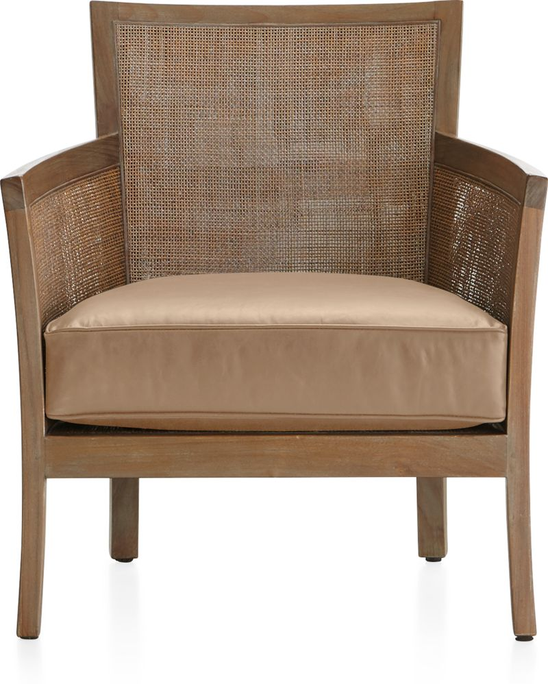 blake grey wash rattan chair with leather cushion in chairs reviews crate and barrel. Black Bedroom Furniture Sets. Home Design Ideas