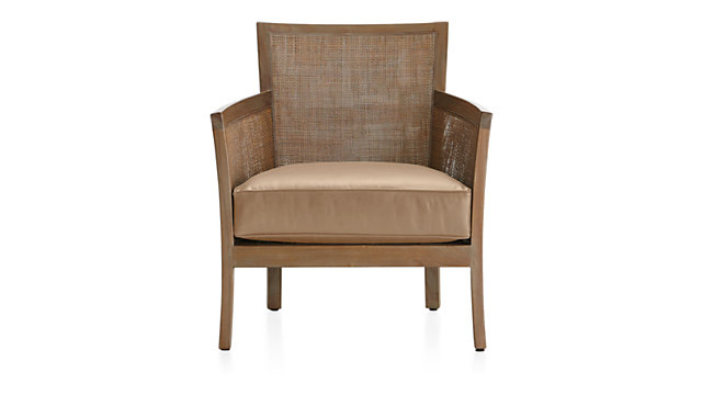 Blake Grey Wash Rattan Chair with Leather Cushion shown in Libby, Mushroom