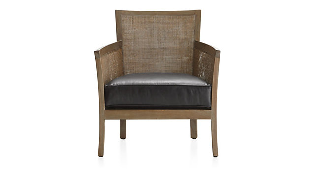Blake Grey Wash Rattan Chair with Leather Cushion shown in Libby, Smoke