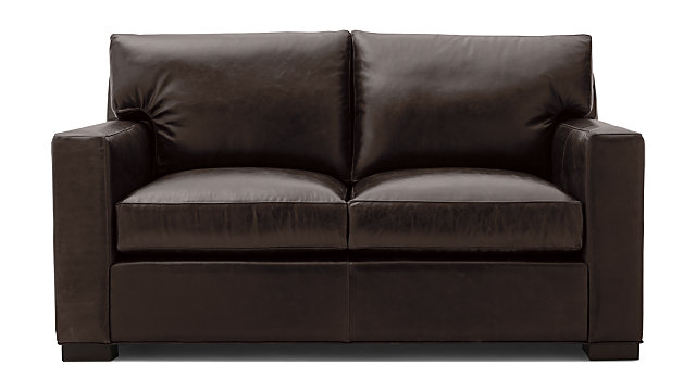 Miraculous Axis Brown Leather Loveseat Crate And Barrel Ncnpc Chair Design For Home Ncnpcorg